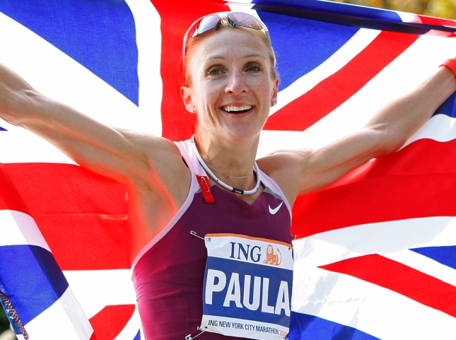 Paula Radcliffe of England holds the Union Jack after winning the Women's division of the 2008 New York City Marathon in New York